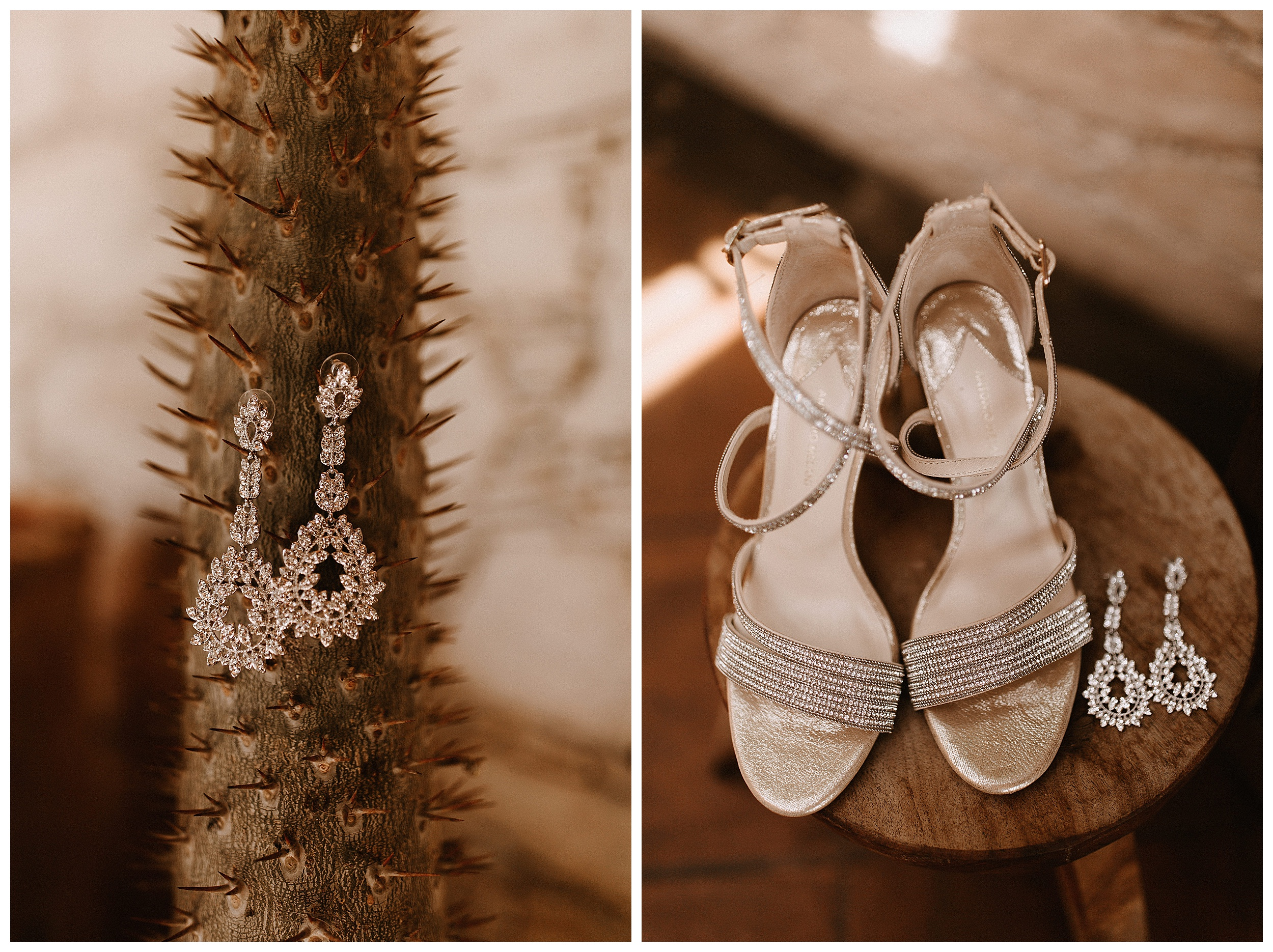 glittery bridal shoes and earrings