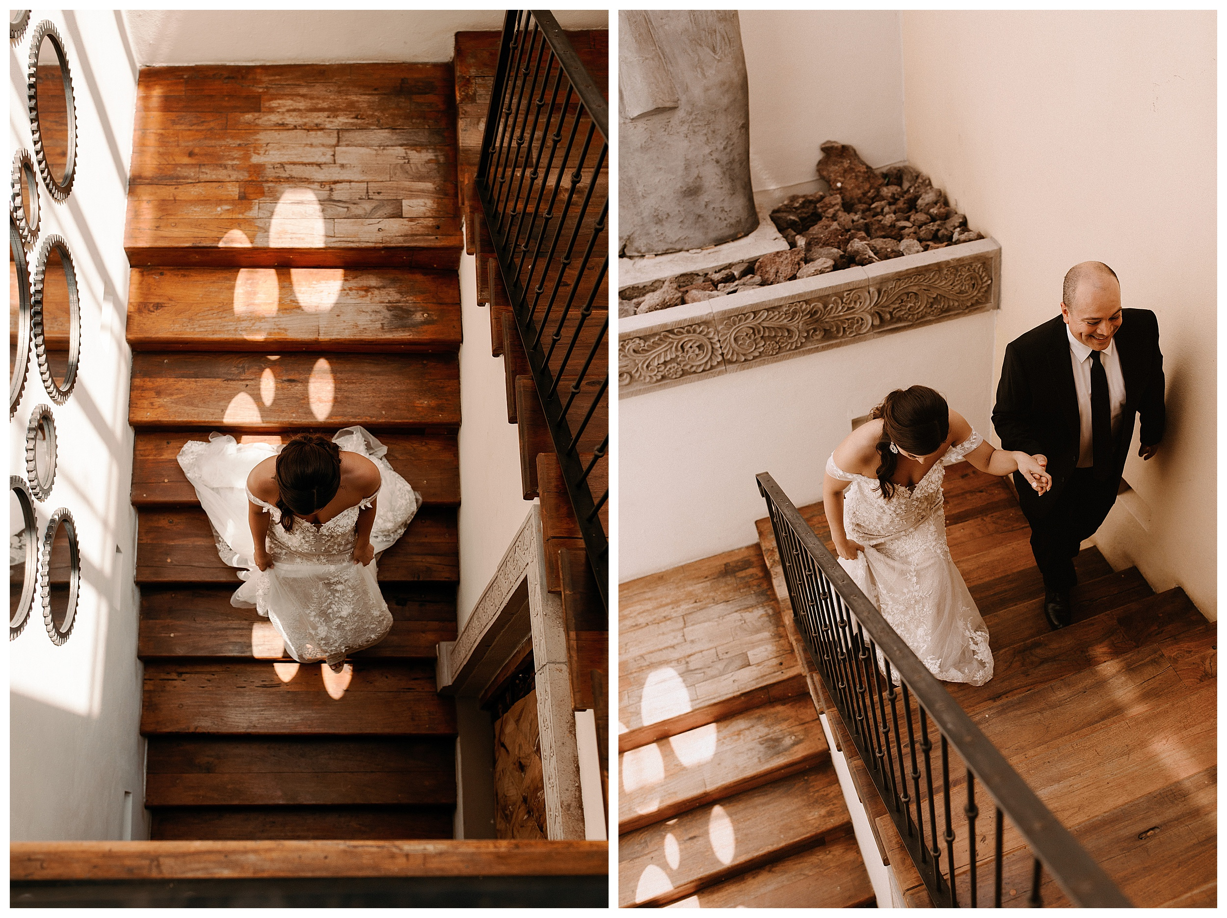 bride and dad walking on stairs