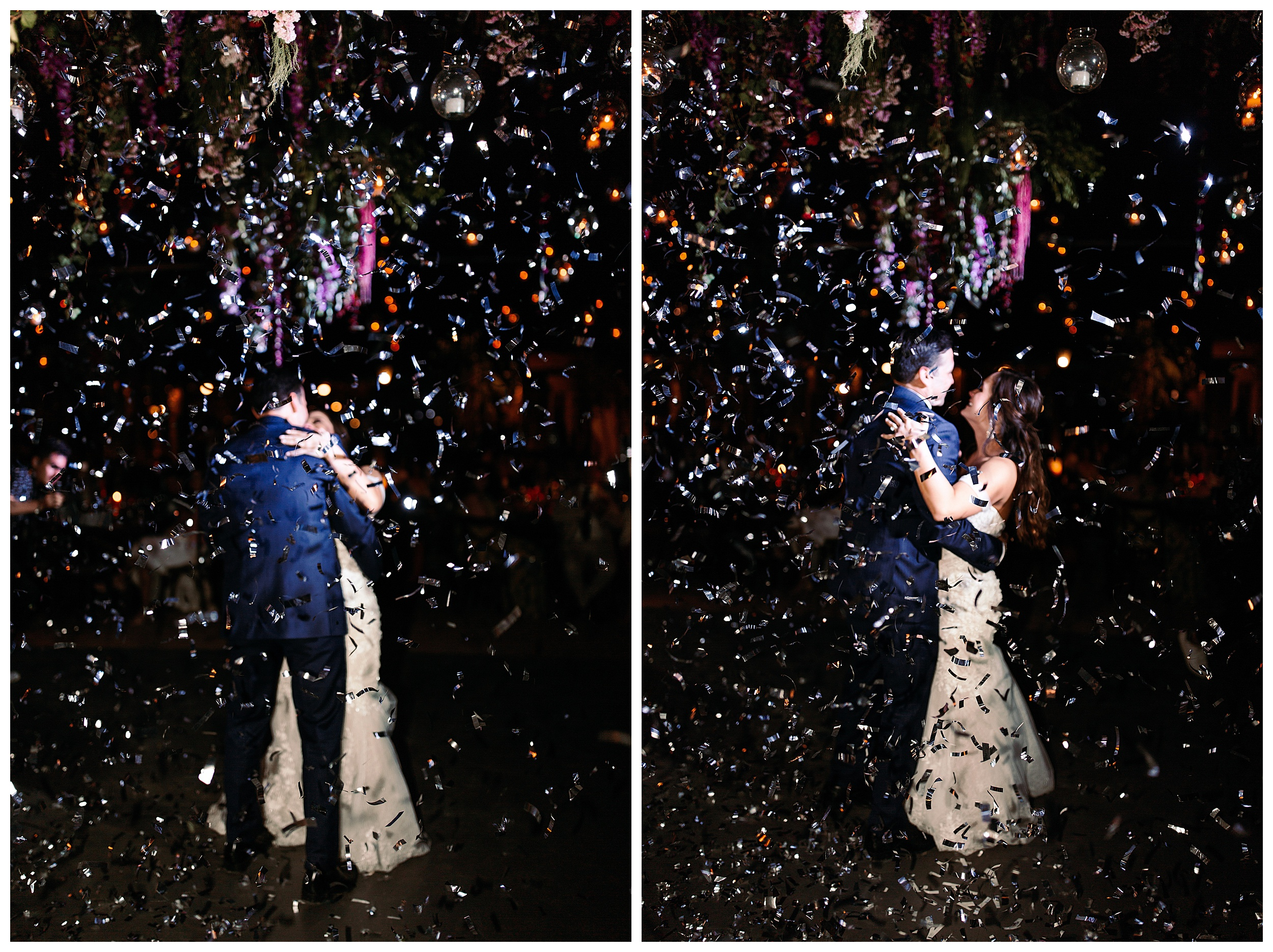 bride and groom kissing with confetti